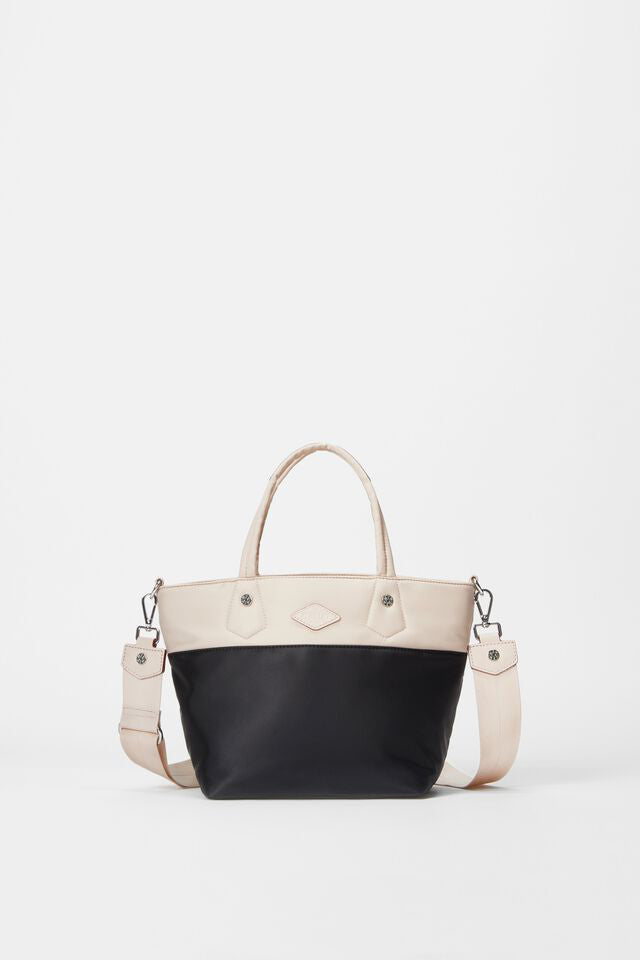 mz wallace mini soho tote in mushroom black colorblock