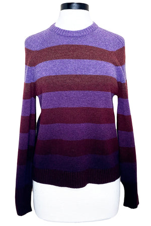 naadam dip dye striped crew neck sweater merlot