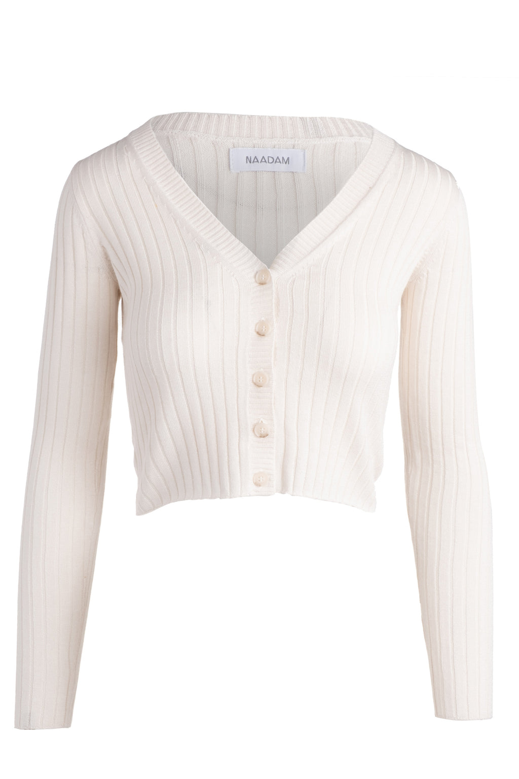 naadam ribbed cropped cardigan white