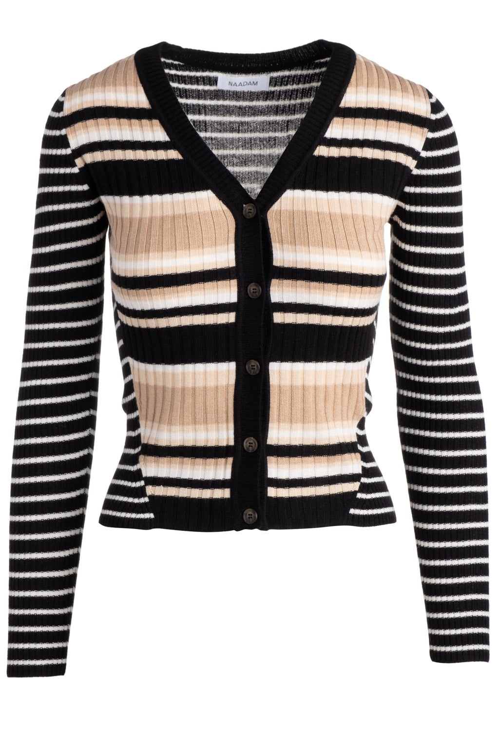 naadam striped ribbed cardigan black multi