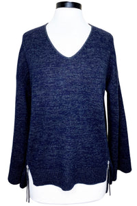 naadam oversized v-neck with zippers navy