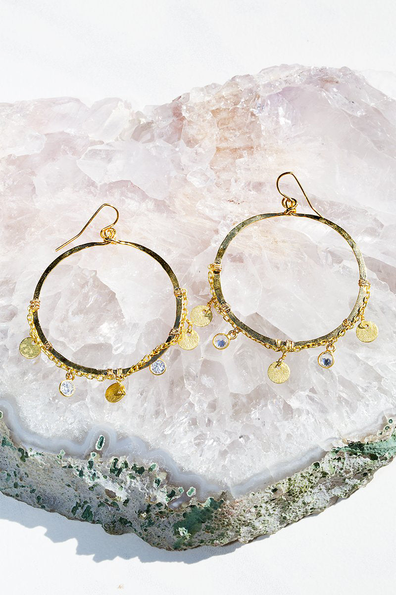 native gem honey hoop earrings gold