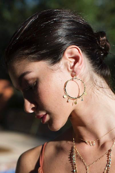 native gem honey hoop earrings