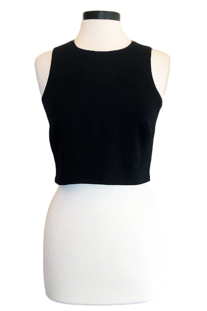 nicole miller poppy crepe crop top black