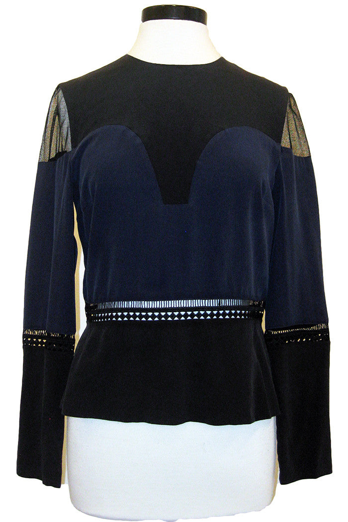 artelier nicole miller long sleeve combo top navy black