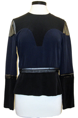 artelier nicole miller long sleeve combo top