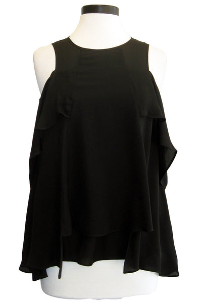 nicole miller cold shoulder blouse black