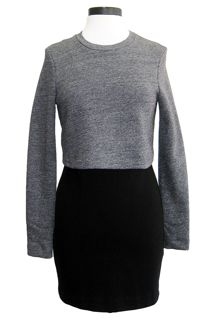 nicole miller popover sweatshirt dress grey black