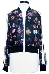 pam & gela floral fineline crop track jacket black