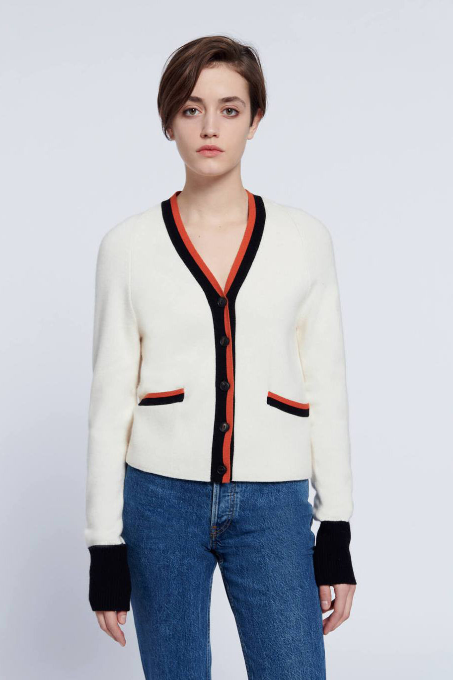 re/done 60s slim cardigan ivory with contrast