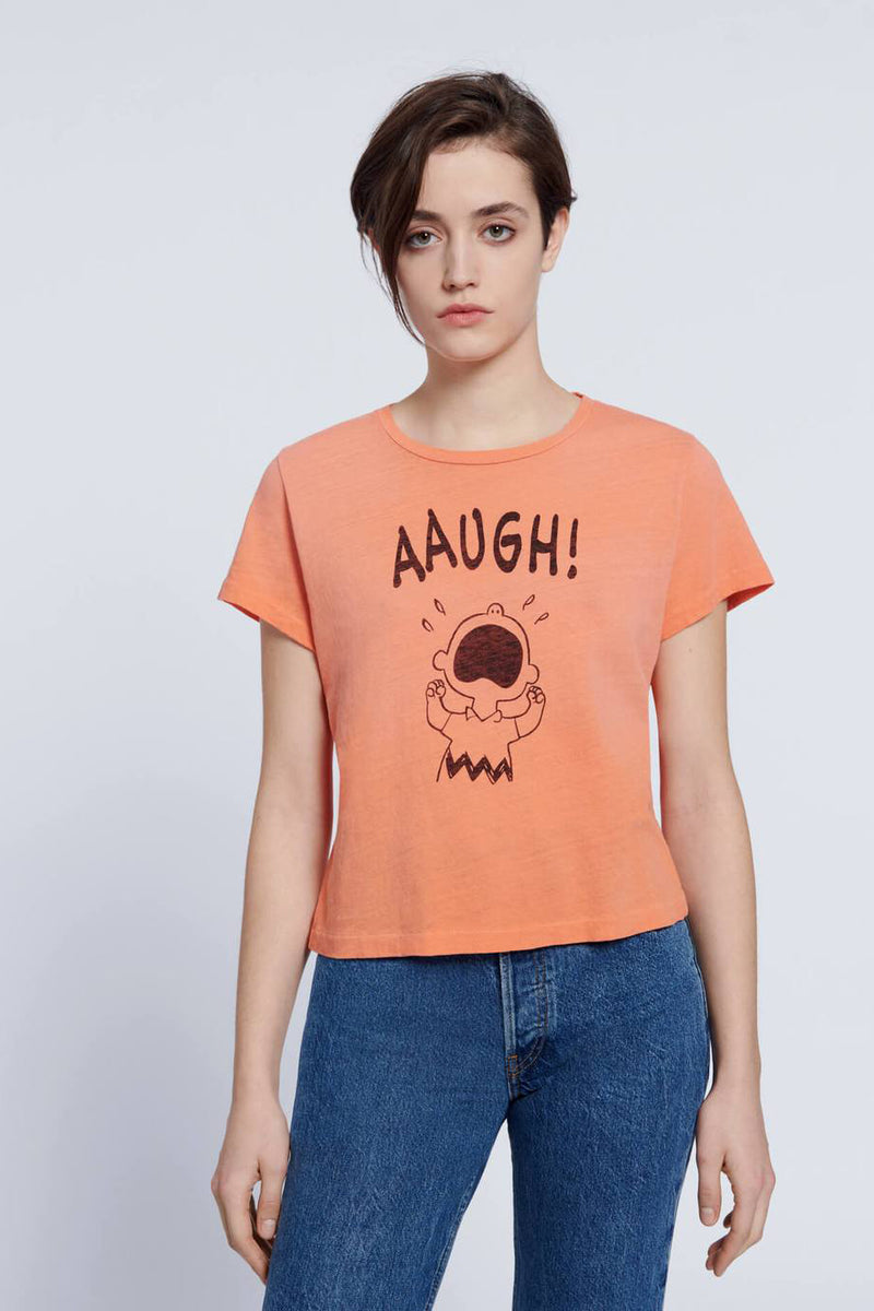 "re/done classic ""aaugh"" tee faded apricot"