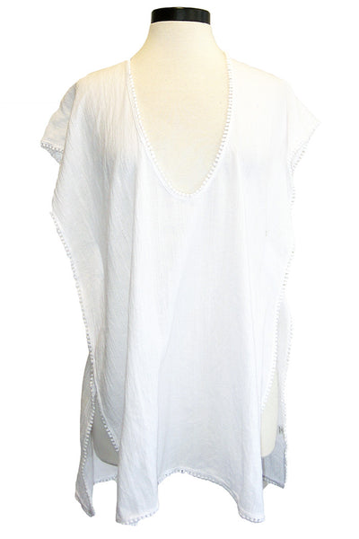 roi caftan with ball trim white