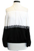 roi off shoulder blouse white black