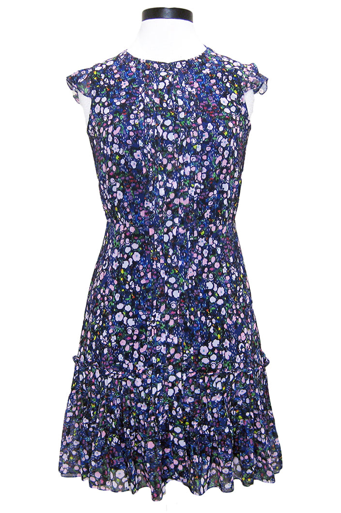 saloni bea dress navy dewdrops