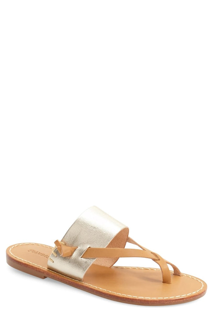 soludos slotted thong sandal platinum