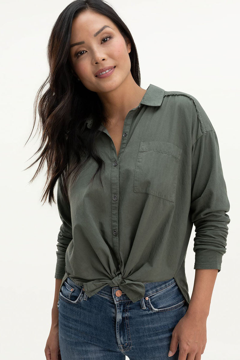 splendid paige shirt soft vintage olive brown