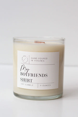 sugar & grace co. 'my boyfriend's shirt' 9 oz. wooden wick soy candle