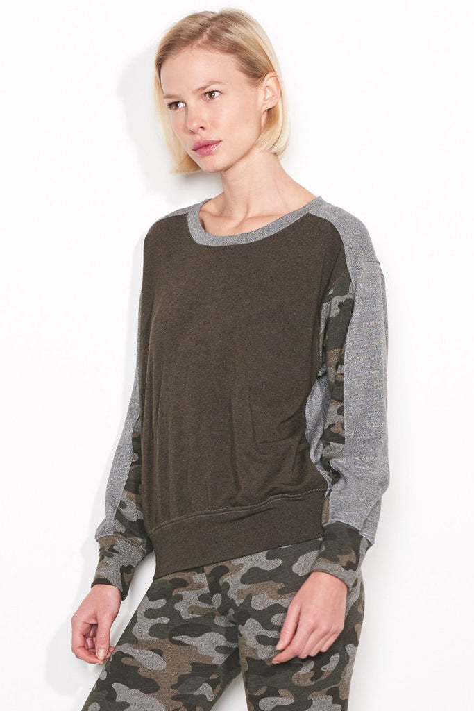 sundry camo colorblock sweatshirt