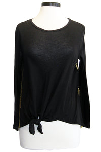 sundry gold seams knotted tee black