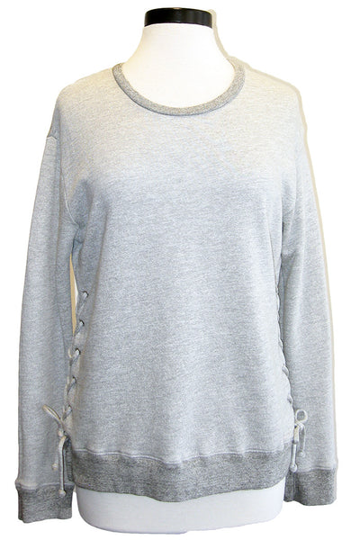 sundry lace up sweatshirt heather grey