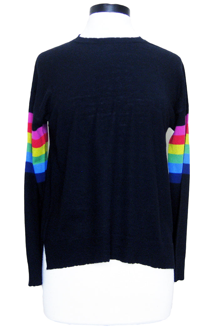 sundry rainbow arm stripe sweater black