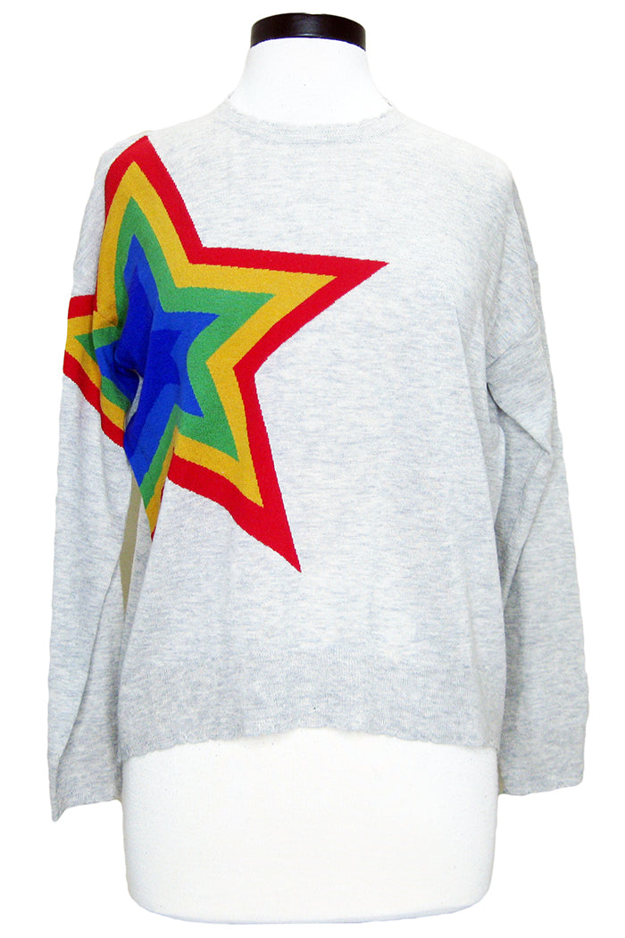 sundry rainbow star sweater heather grey