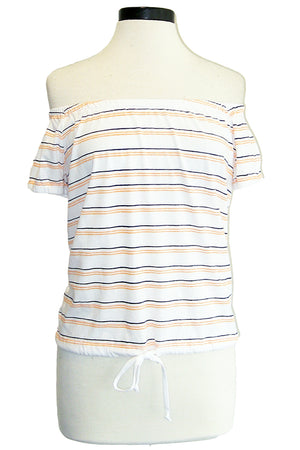 sundry stripes off shoulder top white