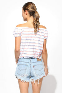 sundry stripes off shoulder top