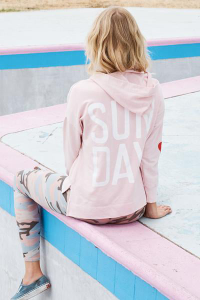 sundry sun day lace up hoodie