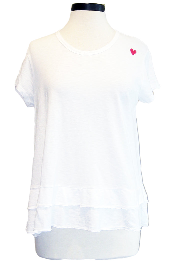 sundry tiered tee white with mini heart