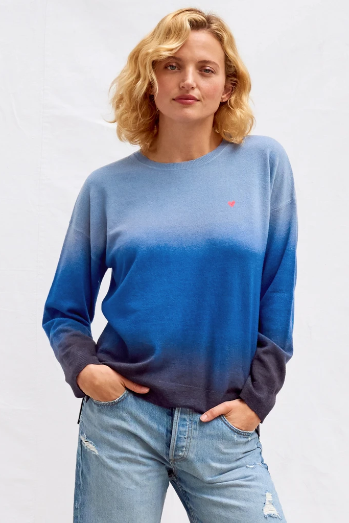 sundry heart gradient crew neck sweater deep sea