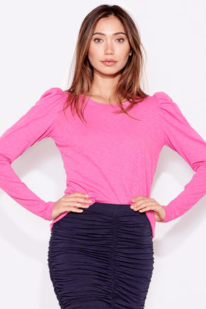 sundry puff shoulder long sleeve tee hot pink
