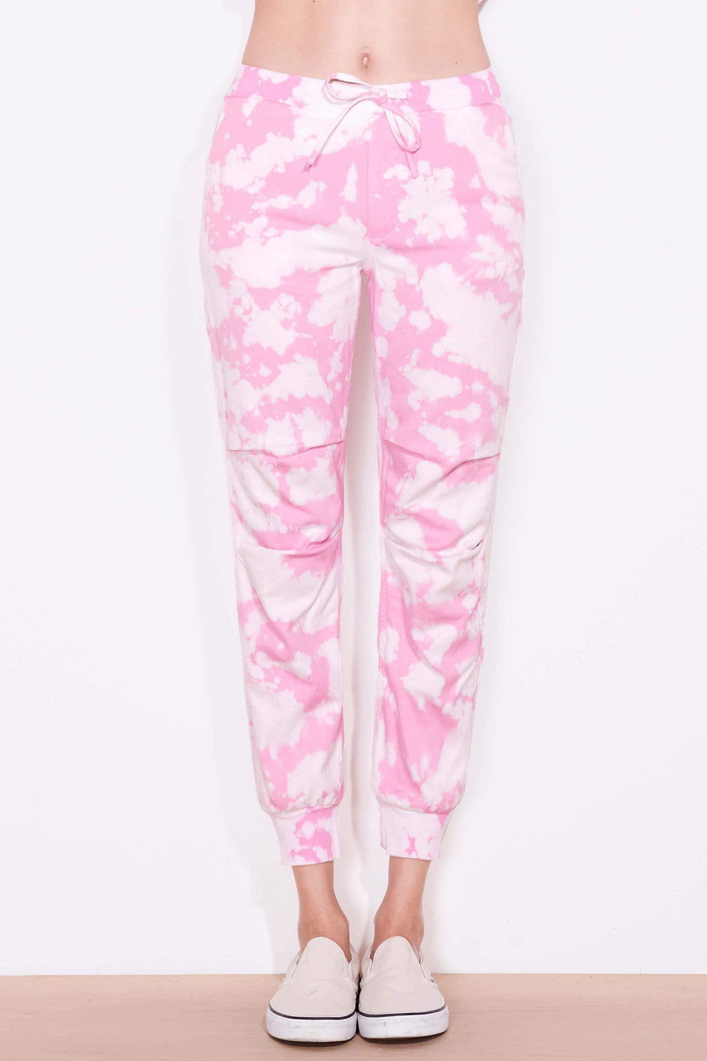 sundry tie dye ribbed waist jogger pink