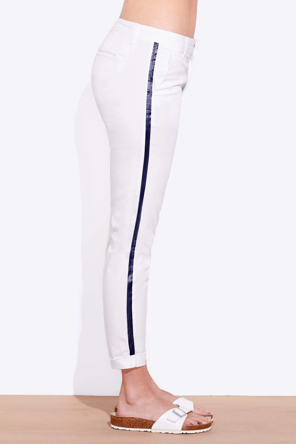 sundry stripe roll up trouser white