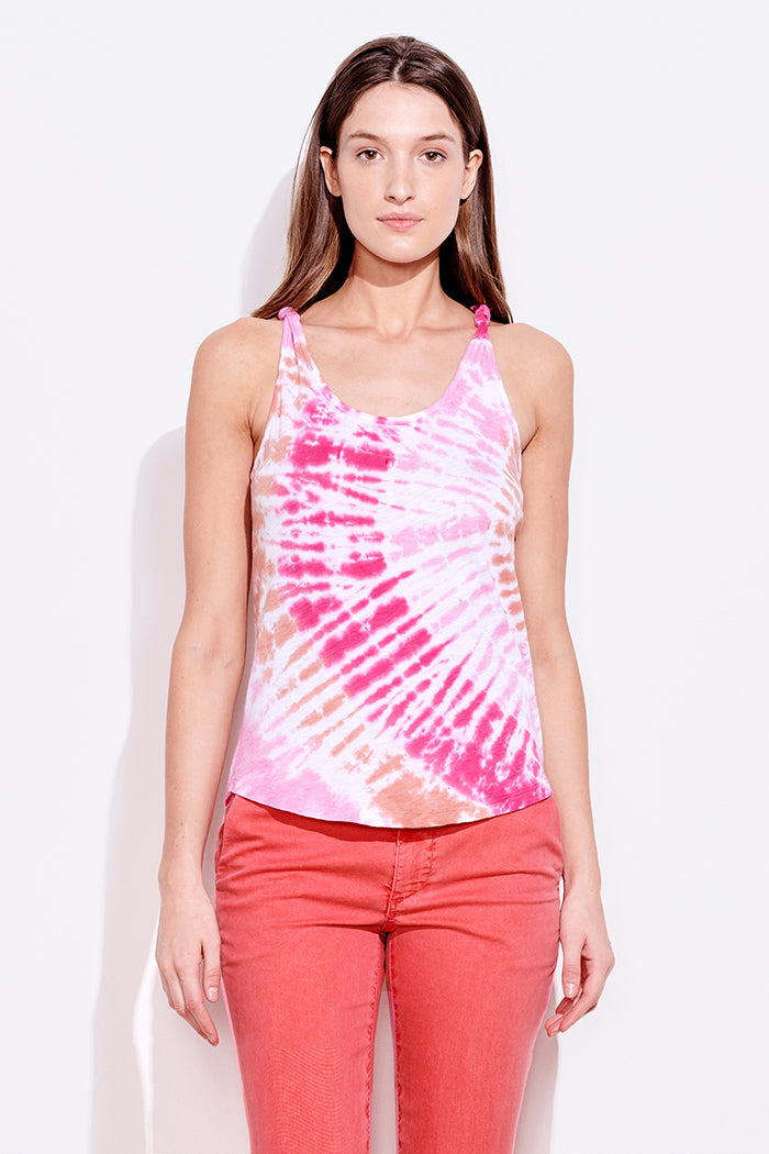 sundry tie dye knotted straps tank adobe hibiscus