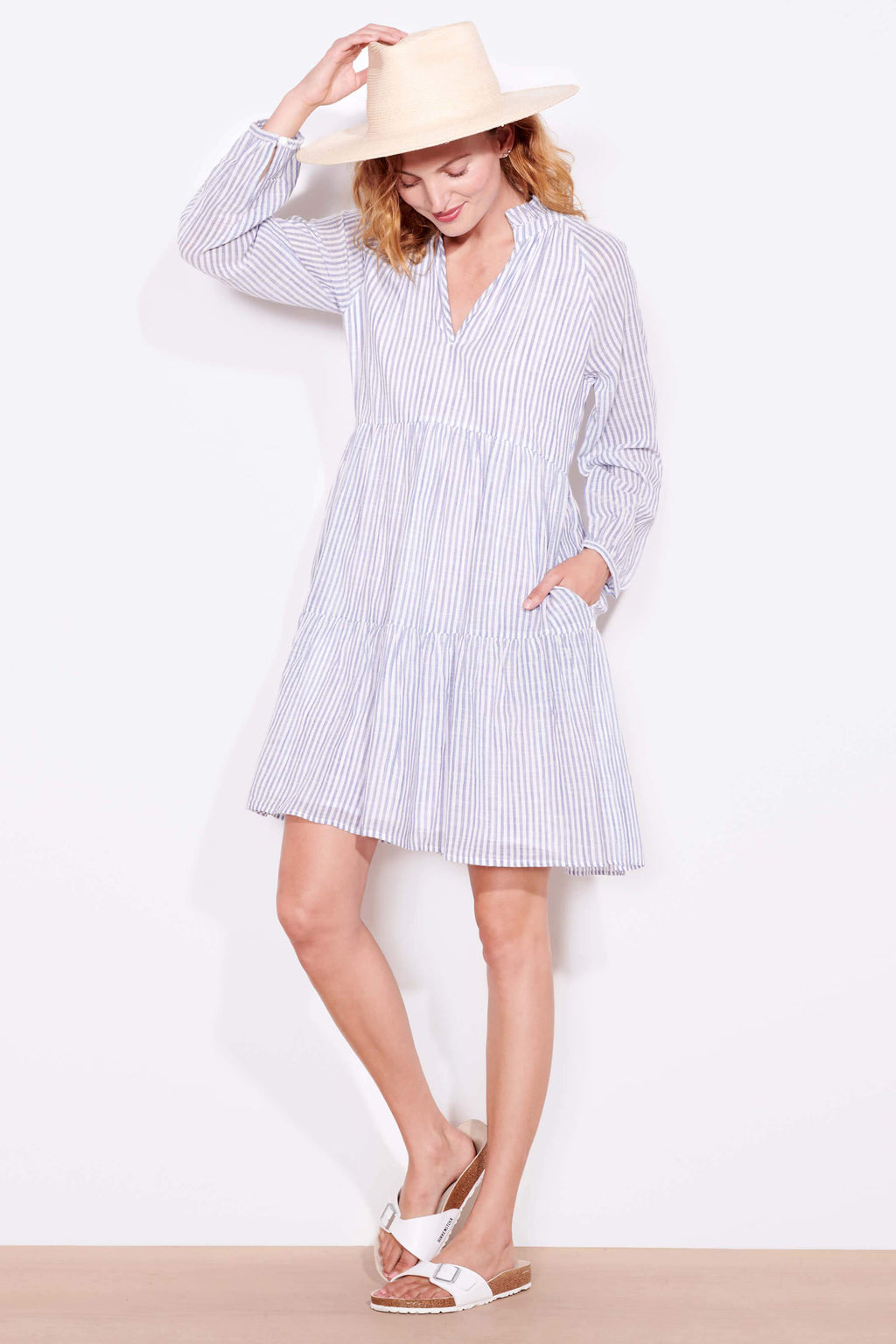 sundry tiered dress natural blue stripes