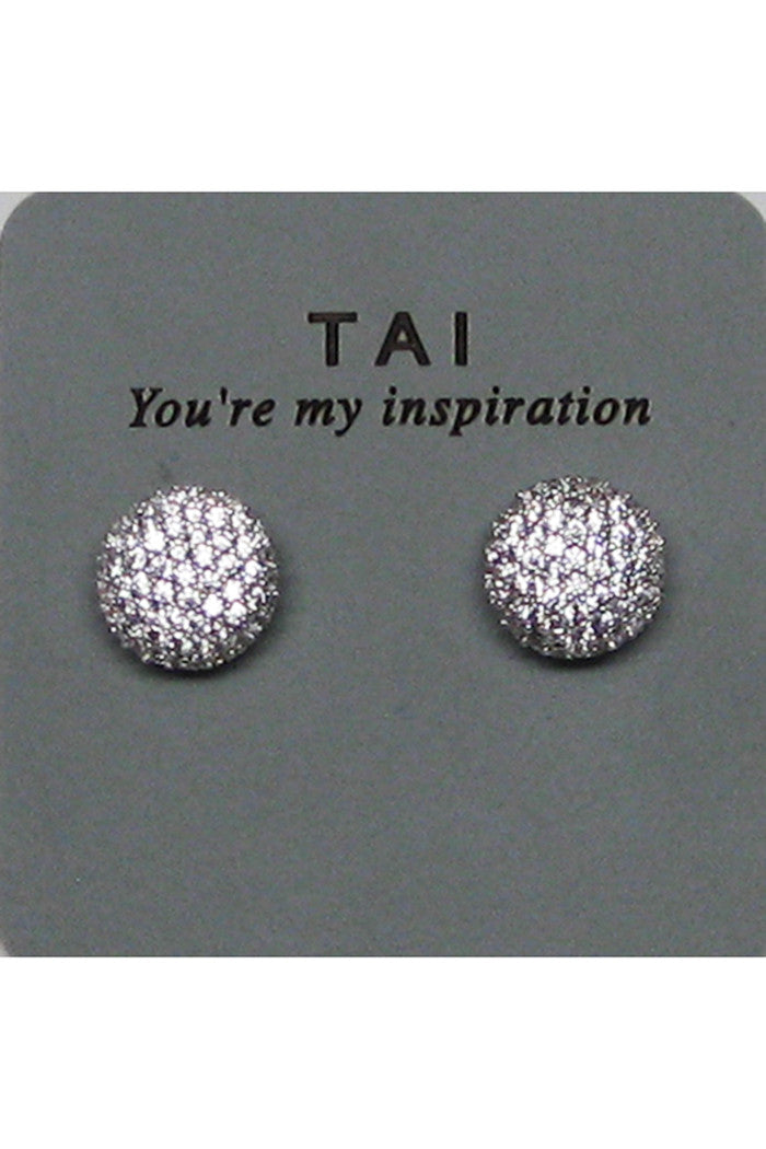 tai cz button stud earrings