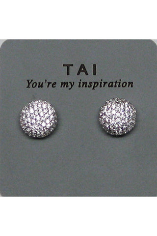 tai cz button stud earrings (more colors available)