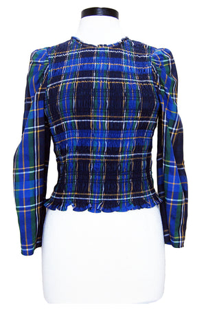 tanya taylor katherine top blue plaid