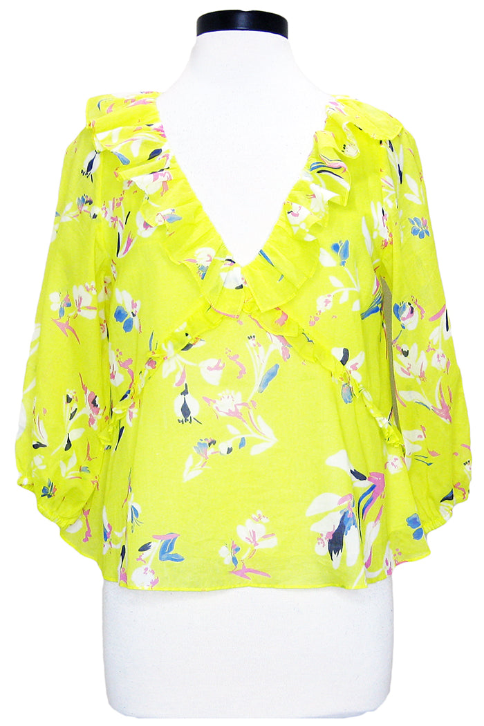tanya taylor lourdes top yellow floral