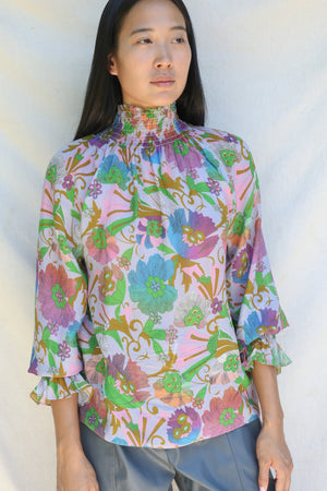 tanya taylor alexis top fan floral sweet lavender