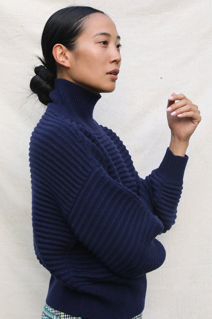 tanya taylor liliana sweater navy