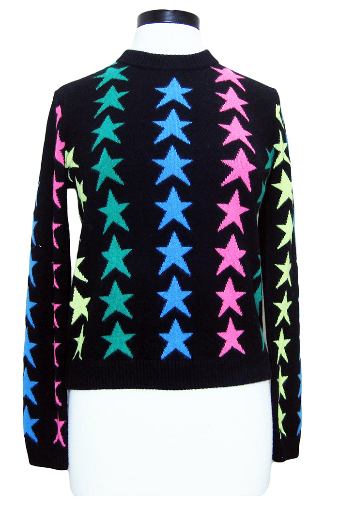 threads of privilege rainbow star crew sweater black neon