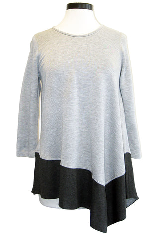 three dots colorblock asymmetric top