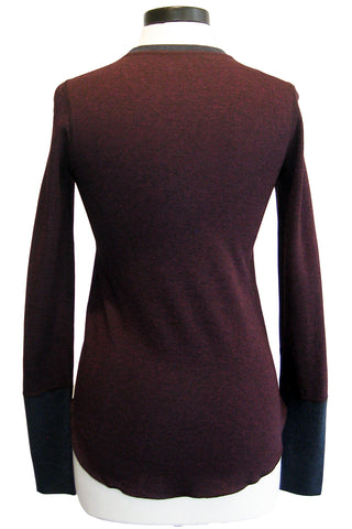 three dots colorblock long sleeve top