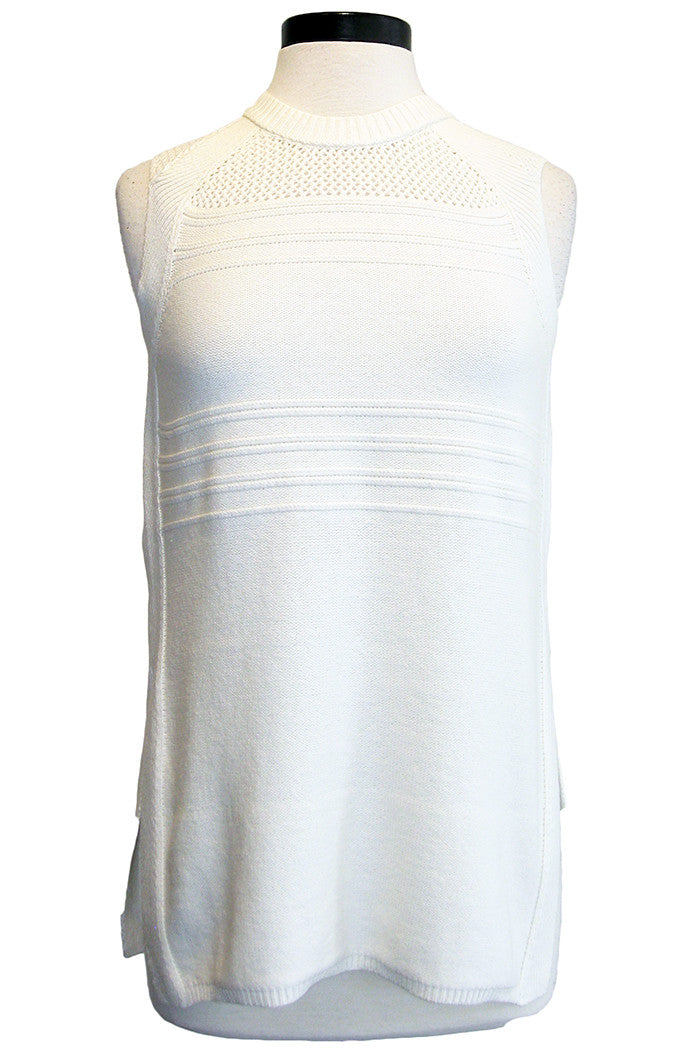 three dots sleeveless sweater white