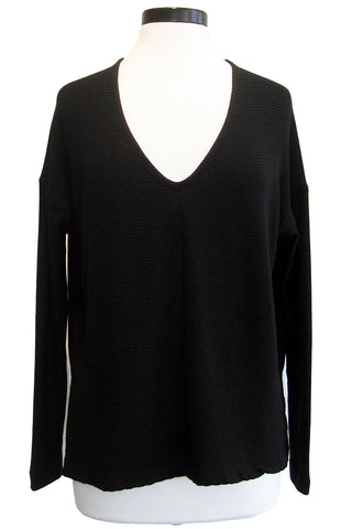 three dots sweater rib high low top
