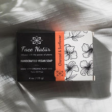 Load image into Gallery viewer, Charcoal & Sunflower Handcrafted Vegan Soap