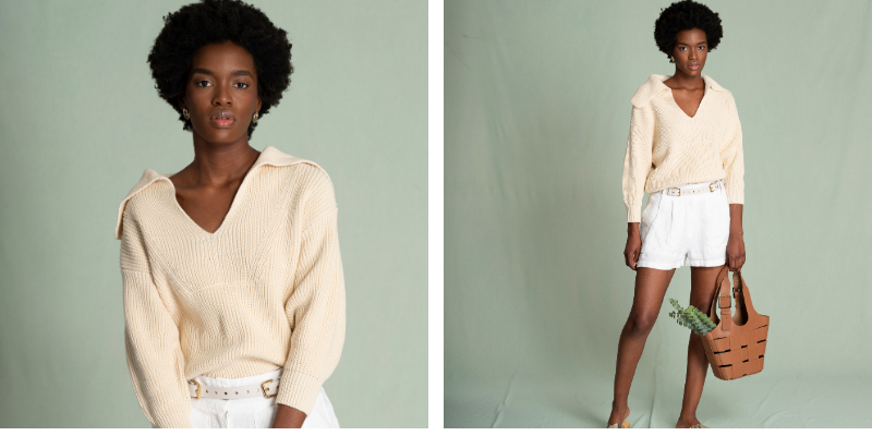 two photos of a model wearing a beige polo sweater and white shorts against a green background