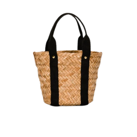 stock photo of straw tote with black soft handles